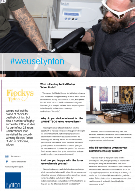 Fleckys Tattoo Studio Lynton Lasers Celebrating 25 Years Case Study
